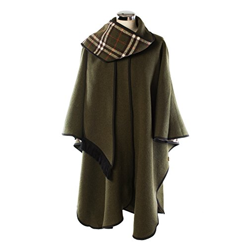 Heritage Of Scotlan Wool Blend Scottish Tartan Reversible Cape Olive (One Size) by Heritage Of Scotland