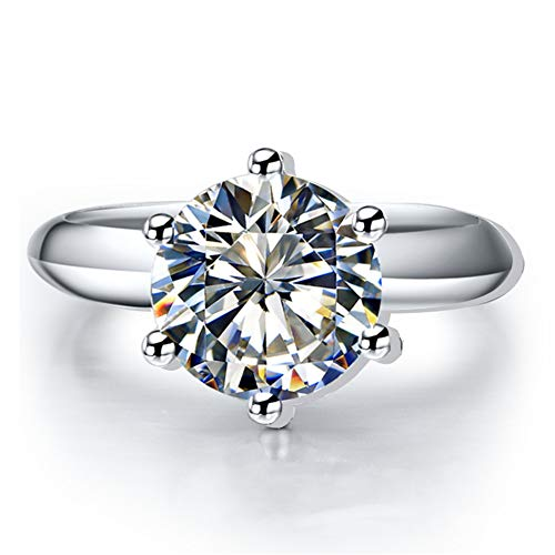 Round Solitaire Brilliant - Erllo 3 Ct CZ Solitaire Engagement Ring Sterling Silver White Gold Plated Woman Anniversary Rings Size 4-10 (8.5)