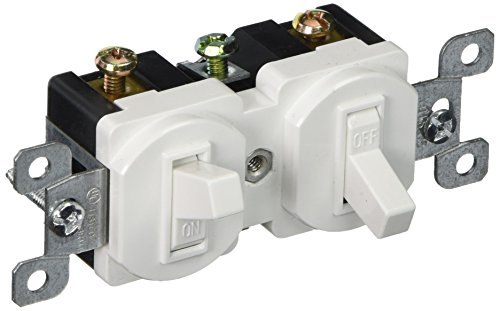 Morris 82091 Double Toggle Switch, Single Pole, 120V, 15 Amp Current, White Double Switch