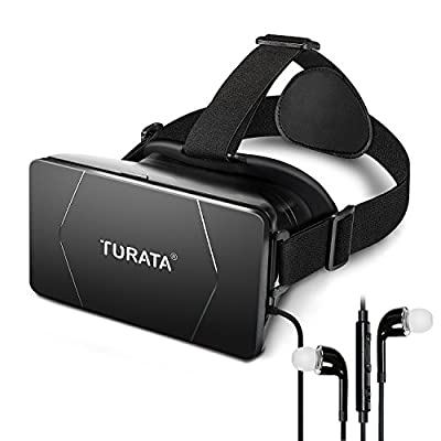 3D VR Glasses - Virtual Reality Box Headset with Adjustable Lens Strap for 3.5-6.0 Inch Smartphone iPhone 6S/6 Plus/5/5S/SE Samsung Galaxy Note 4/S6/S7 Edge 3D Movies Games by TURATA,Balck