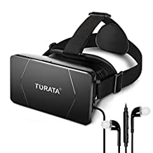 TURATA 3D VR Headset Virtual Reality Box Glasses Adjustable Lens Strap Made for iPhone 7/6S/6 Plus/5/5S/SE Samsung Galaxy Note S6/S7 Edge Android 3D Movies 3.5-6.0 Inch - Black
