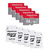 Gigastone Micro SD Card 64GB 5-Pack MicroSD XC U1 C10 with Mini Case and SD Adapter High Speed Memory Card Class 10 UHS-I Full HD Video Nintendo Switch Dash cam GoPro Camera Samsung Canon Nikon Drone