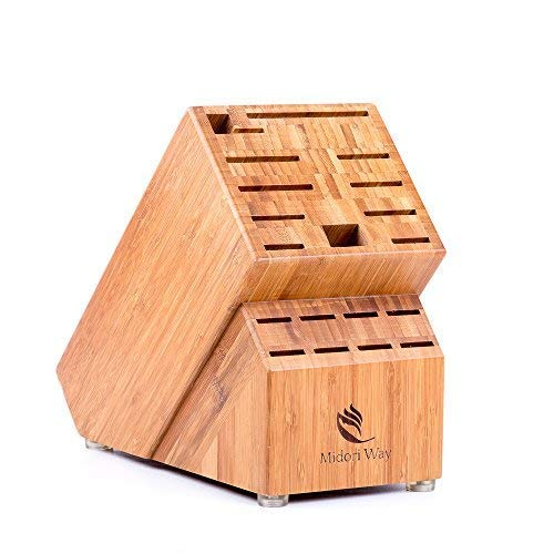 (Bamboo Knife Block (Without Knives), Best For Storage Of Your Quality Cutlery. Stylish and Eco-Friendly, This Beautiful & Professional Wooden Block Will Be A Great Kitchen Addition. By Midori Way)