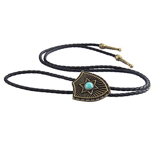 Retro Turquoise Bolo Tie with Adjustable PU Weave Rope Shield Alloy Pendant Necklace Jewelry Crafting Key Chain Bracelet Pendants Accessories Best| Color - Ancient Bronze