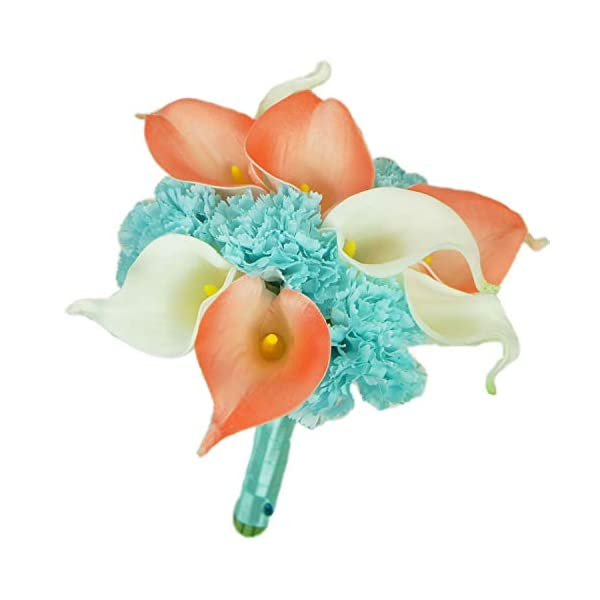 Lily Garden Real Touch Calla Lily Coral and White and Carnation Turquoise Flowers Wedding Bouquet (Bridesmaid Bouquet)