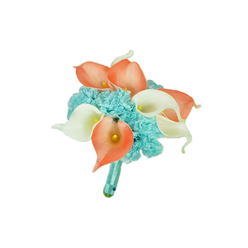 silk flower arrangements lily garden real touch calla lily coral and white and carnation turquoise flowers wedding bouquet (bridesmaid bouquet)