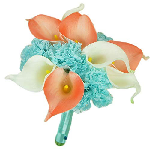 Lily Garden Real Touch Calla Lily Coral and White and Carnation Turquoise Flowers Wedding Bouquet (Bridesmaid Bouquet) ()