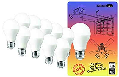 MiracleLED 604907 3-Watt Heavy Duty Commercial Anti-Vibration Proof Low Profile Rough Service LED Bulb 10-Pack