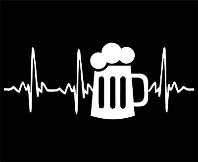 "Beer - 8 3/4""x 3 1/2"" - Vinyl Die Cut Decal / Bumper Sticker For Windows, Trucks, Cars, Laptops, Macbooks, Etc."