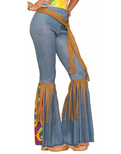 Forum Novelties Women's Hippie Costume Bell Bottoms, Blue/Brown, X-Small/Small