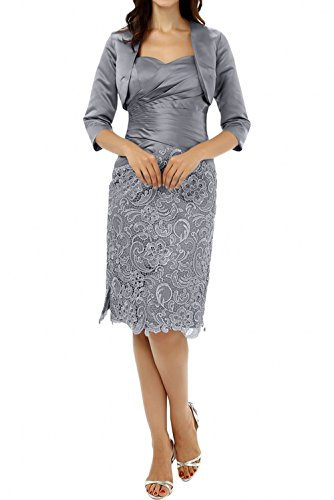 Lang Silber Promkleider Silber Bolero Abendkleider Satin Langarm Charmant Spitze Damen Knie Kurz Brautmutterkleider n8qxw751v4