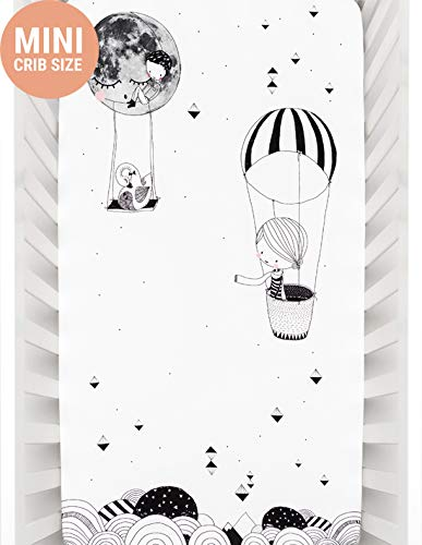 (Mini Crib Sheets by Rookie Humans: 100% Cotton Sateen. Use as a Photo Background for Your Baby Pictures. Fits Mini Crib Size (38x24 inches) (Frieda and The Balloon))