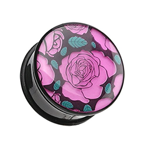 Glow in the Dark Romantic Roses Single Flared Ear Gauge Freedom Fashion Plug (Sold by Pair) (2 GA)