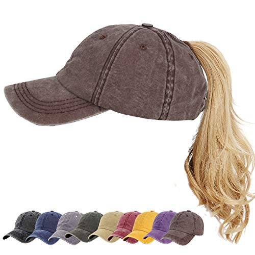 - High Distressed Ponytail Hat Vintage Washed Cotton Dad Hat Baseball Cap Adjustable Polo Trucker Hat Coffee