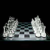 Krevia Diswa Chess Set Featuring Frosted and Clear Glass Pieces and Board