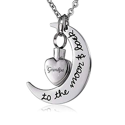 (MEMORIALU Cremation Jewelry I Love You to The Moon and Back Urn Ashes Necklace Keepsake Memorial Pendant)