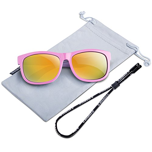 RIVBOS Rubber Kids Polarized Sunglasses With Strap Glasses for Boys Girls Baby and Children Age 3-10 RBK023 (Pink Coating Lens)