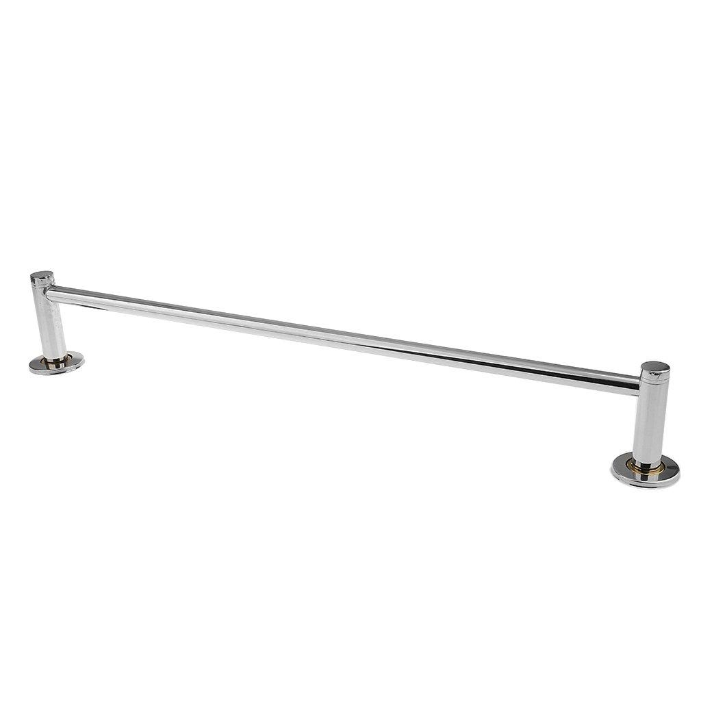 MagiDeal 60cm Single/Double Bars Towel Rail Rack Chrome Stainless Steel Bathroom Kitchen Wall Mounted Hanger - Single Bar