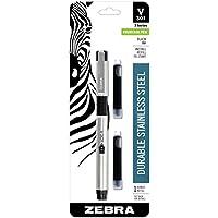 Zebra V-301 Stainless Steel Fountain Pen with Bonus Refill, Fine Point, 0.7mm