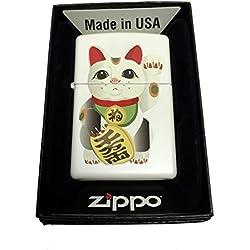 Zippo Custom Lighter - LUCKY JAPANESE Maneki Neko Beckoning Cat - Regular White Matte