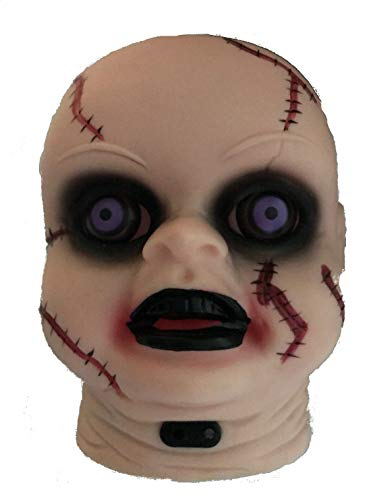 Creepy Doll Head with LED Light Up Eyes with Motion Sensor -
