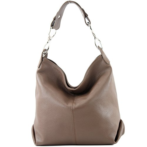 modamoda Leather Ladies bag bag Leather de Brown Pale ital T168 Shoulder bag bag Shoulder FExBFrqwY