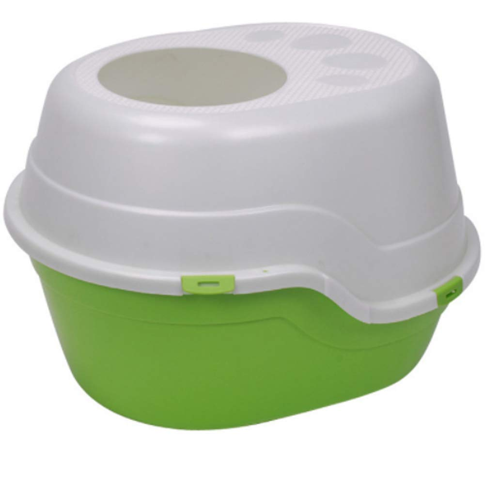 Green PDDJ Cat Toilet Small Litter Pan with Top Entry Cat Litter Box For Cat