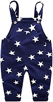 Evelin LEE Baby Boys Casual Star Trousers Cotton Bib Pants Overalls with Pocket