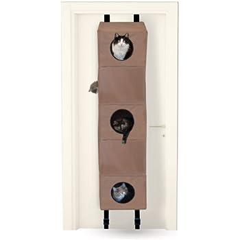 ku0026h hanginu0027 cat condo small tan 16inch by 16inch by 65inch - Cat Climber