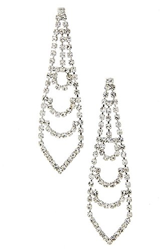 Trifari Clear Rhinestone (TRENDY FASHION JEWELRY TIE SHAPED RHINESTONE LINK EARRING BY FASHION DESTINATION |)