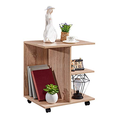 Table Wooden 21.65''H with Lockable Wheels Nightstand Storage Shelf Printer Stand End Table for Bedroom,Oak ()