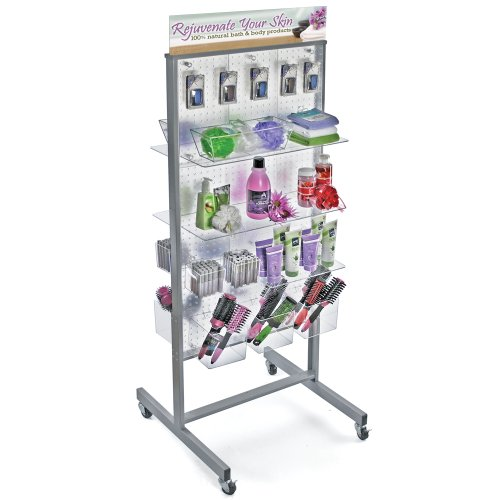 Azar 700271-CLR Two-Sided Floor Display, Clear Translucent Pegboard with Wheeled Base by Azar Displays (Image #1)