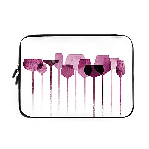Wine Laptop Sleeve Bag,Neoprene Sleeve Case/Conceptual Collage Artwork with Paper Textured Party Glasses Alcohol Drink Print Decorative/for Apple MacBook Air Samsung Google Acer HP DELL Lenov