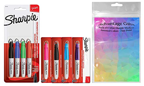 Sharpie Mini Permanent Markers, Fine Point, Assorted Colors, 8-Count and Advantage Gifts Plastic Resealable Pouch for Easy Storage ()