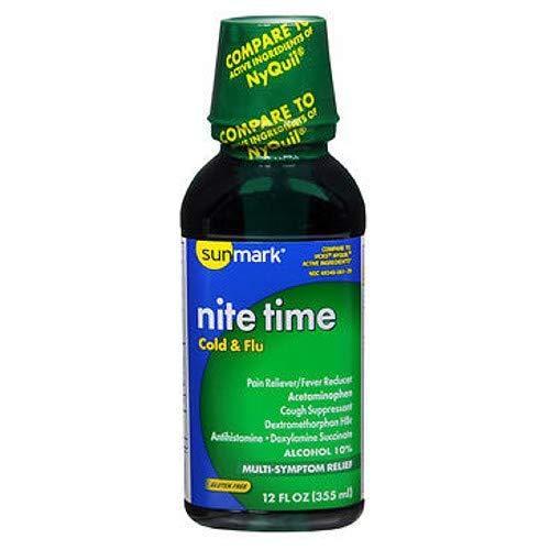 Sunmark Nite Time, Cold & Flu Liquid, Original Flavor - 12 oz, Pack of 4 (Flu Liquid 4)