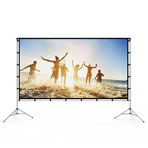Vamvo Outdoor Indoor Projector Screen with Stand Foldable Portable Movie Screen 100 inch (16:9) Full-Set Bag for Home Theater Camping and Recreational Events (100inch) by Vamvo