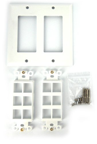 Sewell Wall Plate with 12 Keystone Ports, 2-gang, White primary