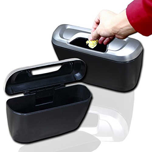 Zento Deals 2 Pack of Portable Traveling Black Mini Trash Can Modern Plastic Storage Box Organizer on the Go with Double-Sided Adhesive and Clip-On Hooks Installation