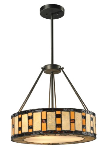 - Z-Lite Z18-51P 3-Light Pendant with Metal Material, Multi Colored Tiffany