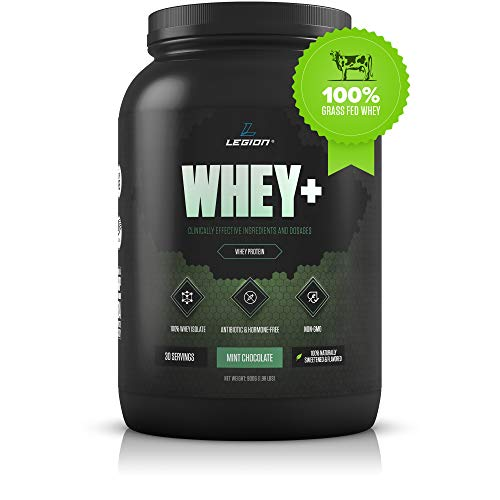 Legion Whey+ Mint Chocolate Whey Isolate Protein Powder from Grass Fed Cows - Low Carb, Low Calorie, Non-GMO, Lactose Free, Gluten Free, Sugar Free. Great for Weight Loss & Bodybuilding, 30 Servings