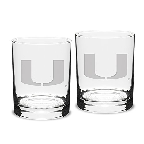 NCAA Miami Hurricanes Adult Set of 2 - 14 oz Double Old Fashion Glasses Deep Etch Engraved, One Size, Clear
