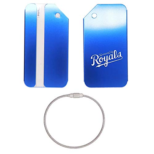 (MLB Kansas City Royals Letter 1 STAINLESS STEEL - ENGRAVED LUGGAGE TAG (ROYAL BLUE) - FOR ANY TYPE OF LUGGAGE, SUITCASES, GYM BAGS, BRIEFCASES, GOLF BAGS)