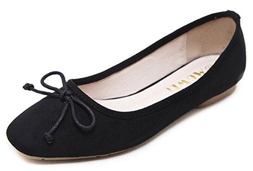 Aisun Womens Simple Low-cut Dressy Square Toe Ballet Driving Cars Slip On Flats Scarpe Con Fiocchi Neri
