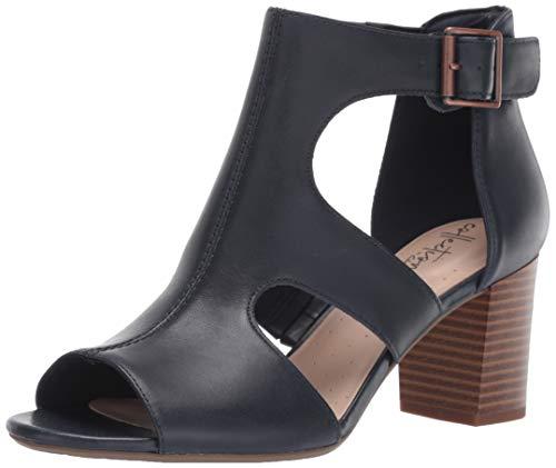 CLARKS Women's Deva Heidi Heeled Sandal Navy Leather 120 M US
