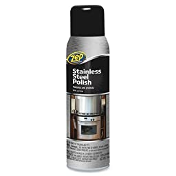 Zep Stainless Steel Spray Cleaner - Aerosol - 14 oz - Chrome, Black