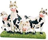 "Four Funny Looking Cows Figurine 9.25"" (Great For Standing On A Desk Or Table)"