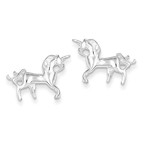 Licorne en argent Sterling 925 pour enfants-JewelryWeb Boucles d'Oreilles Mini