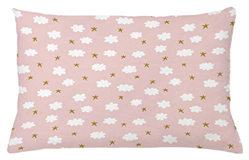 Ambesonne Baby Throw Pillow Cushion Cover, Stars and Clouds Cute Design Vintage Sketch Style Illustration Calming Ornate, Decorative Square Accent Pillow Case, 26 X 16 Inches, Blush Sepia White - Clouds Design
