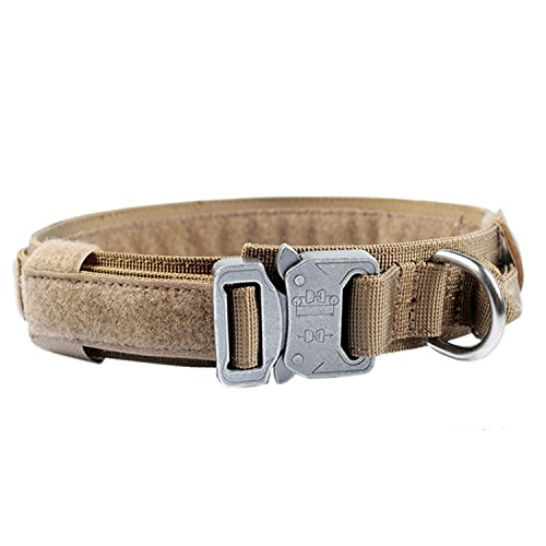 Pettom-Tactical-Dog-Adjustable-Collar-Military-Training-Molle-Nylon-Dog-Collar-Leash-With-Handle-Steel-Buckle-15-L-Brown