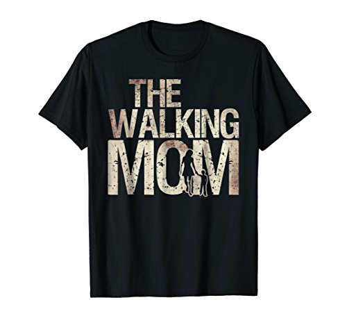 Mens Walking Mom Shirt Zombie Woman And Kid Mother's Day Tee 2XL Black -